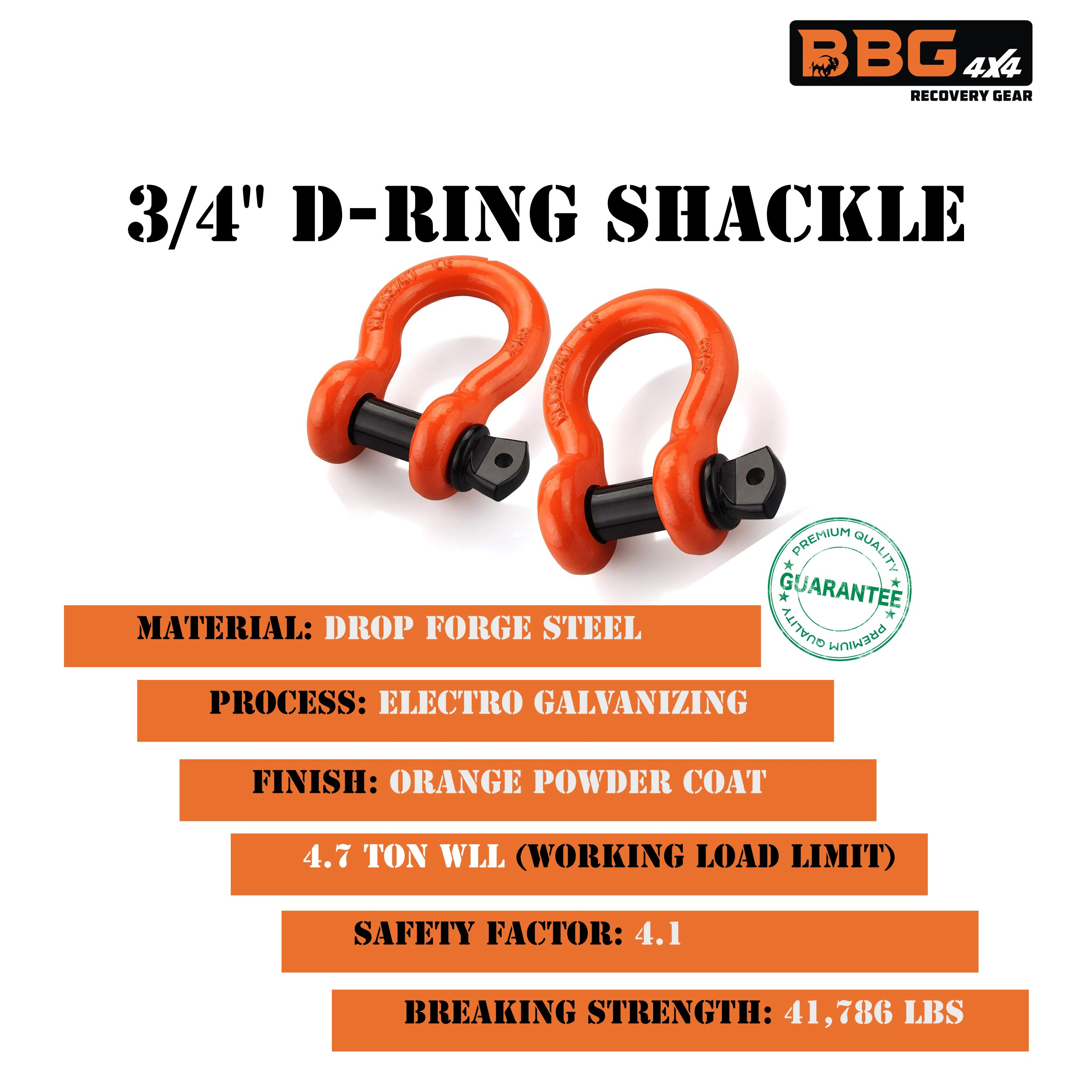 Capacity with 7//8 Diameter Pin and Isolator Washer Kits 57,000 lbs Max Break Strength Eowpower 1 Pack 3//4 Heavy Duty D-Ring Shackles 4.75 Ton 9,500 Lbs